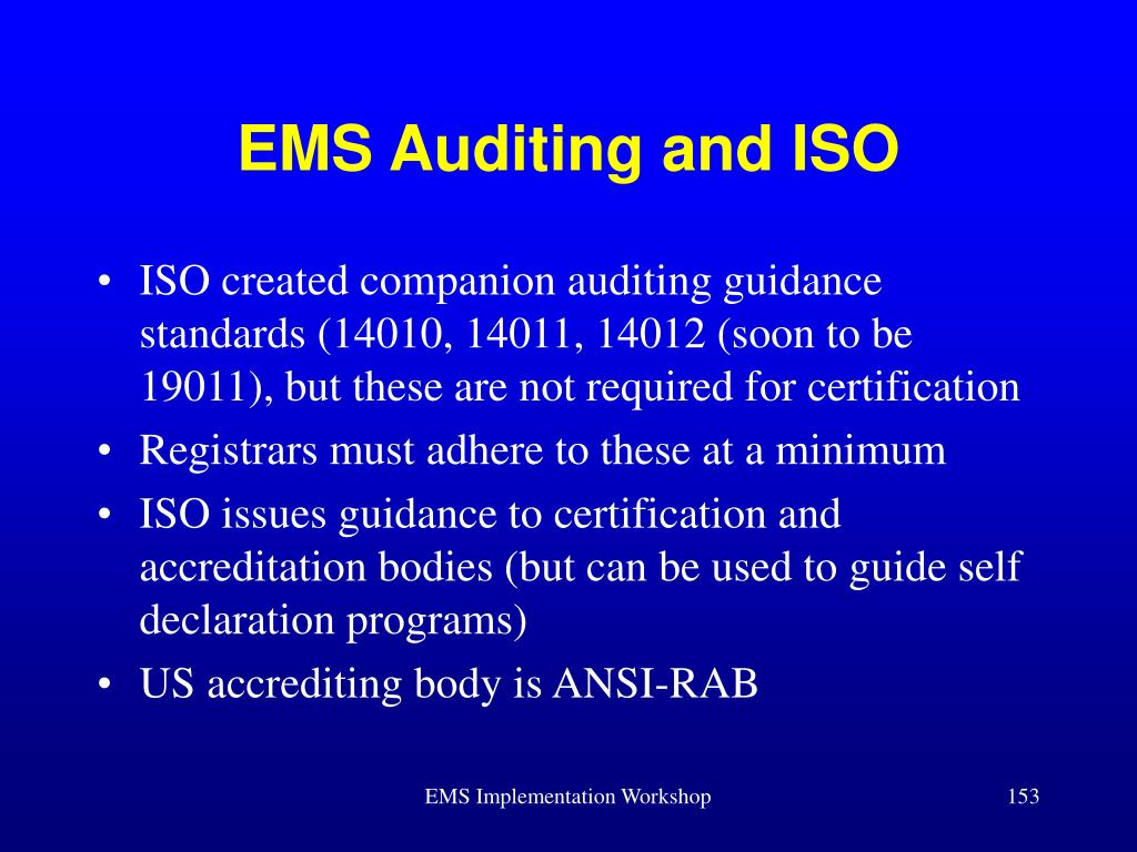 EMS Auditing and ISO