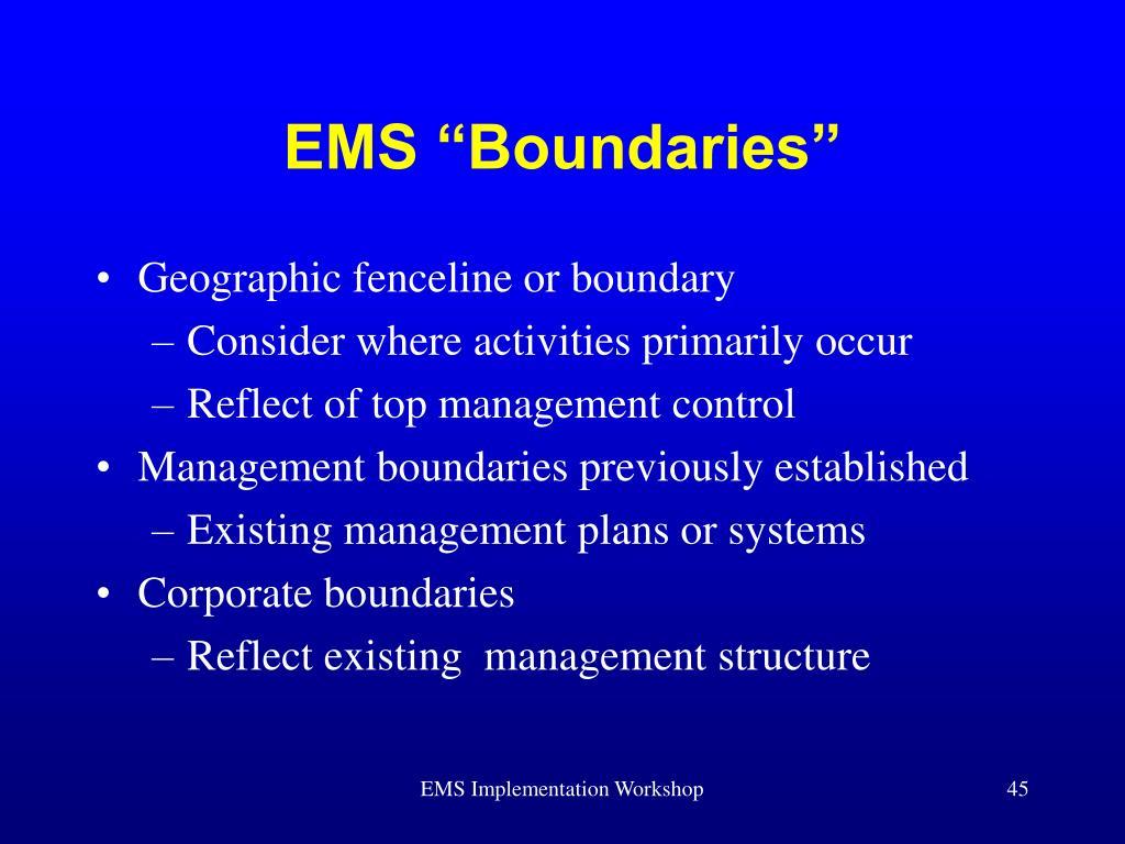 "EMS ""Boundaries"""