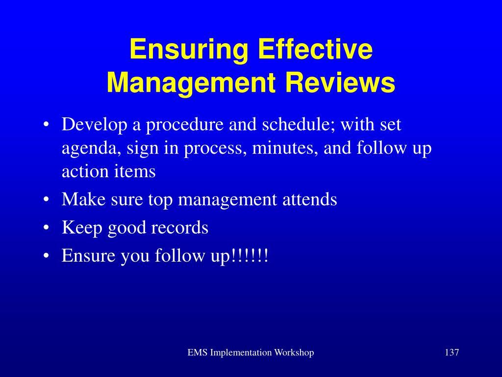 Ensuring Effective Management Reviews