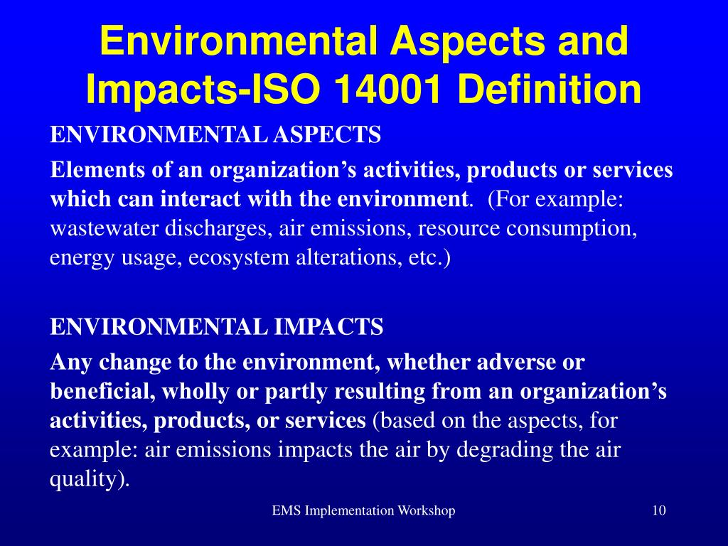 Environmental Aspects and Impacts-ISO 14001 Definition