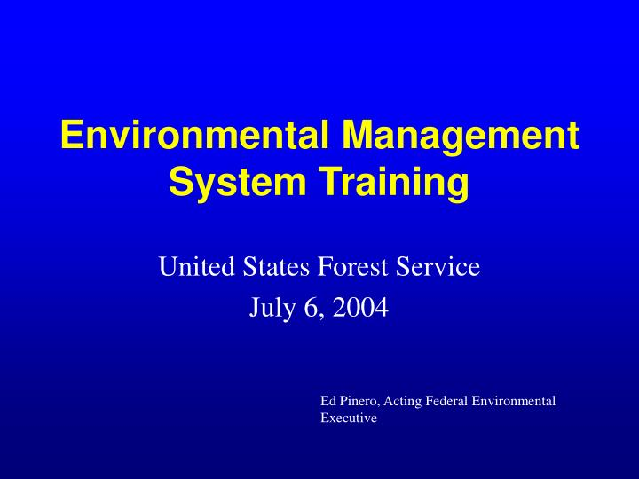 Environmental management system training