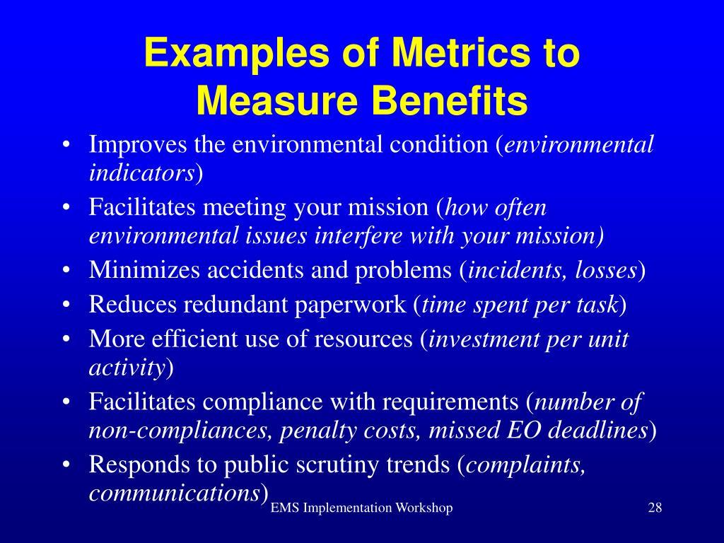 Examples of Metrics to Measure Benefits