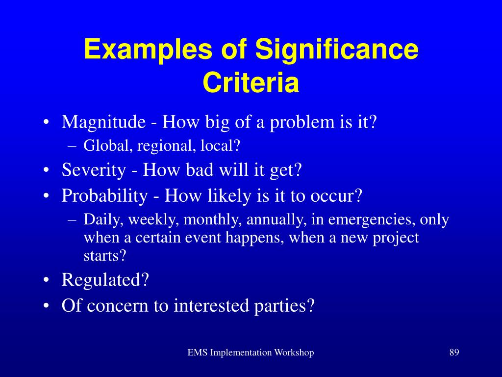Examples of Significance Criteria