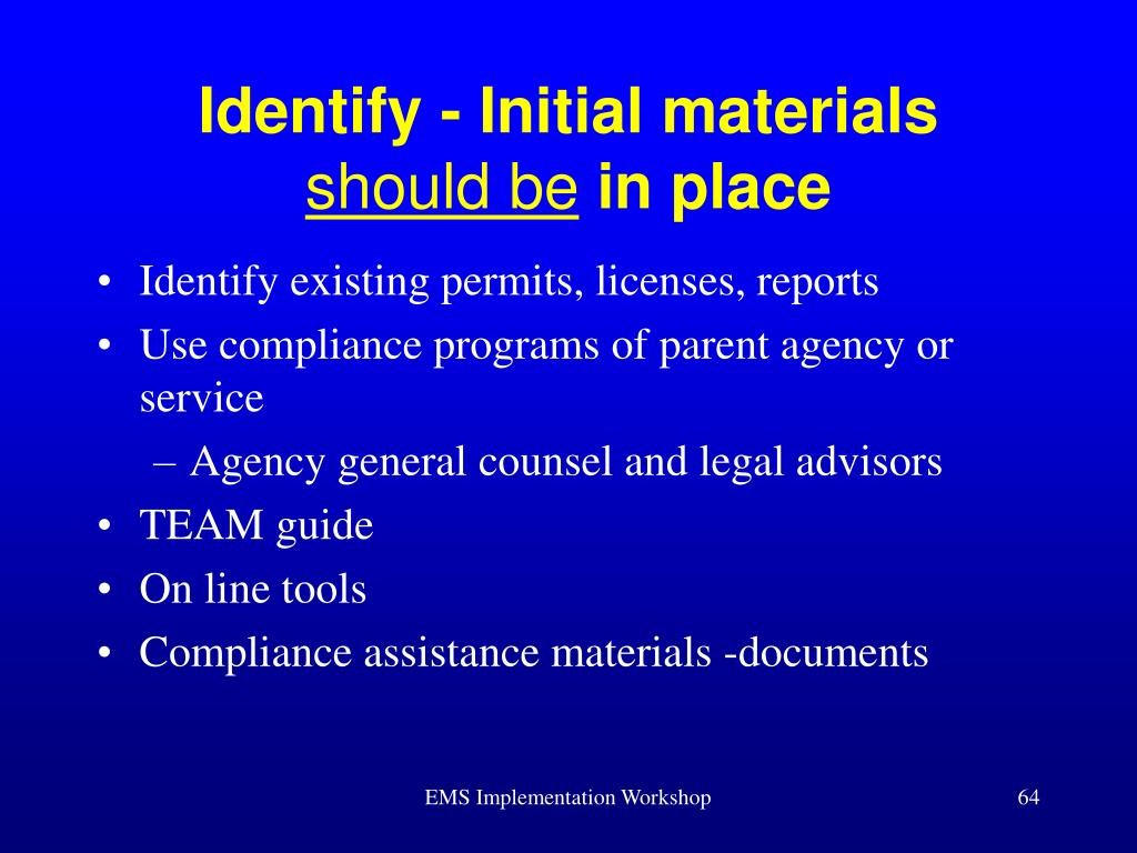 Identify - Initial materials