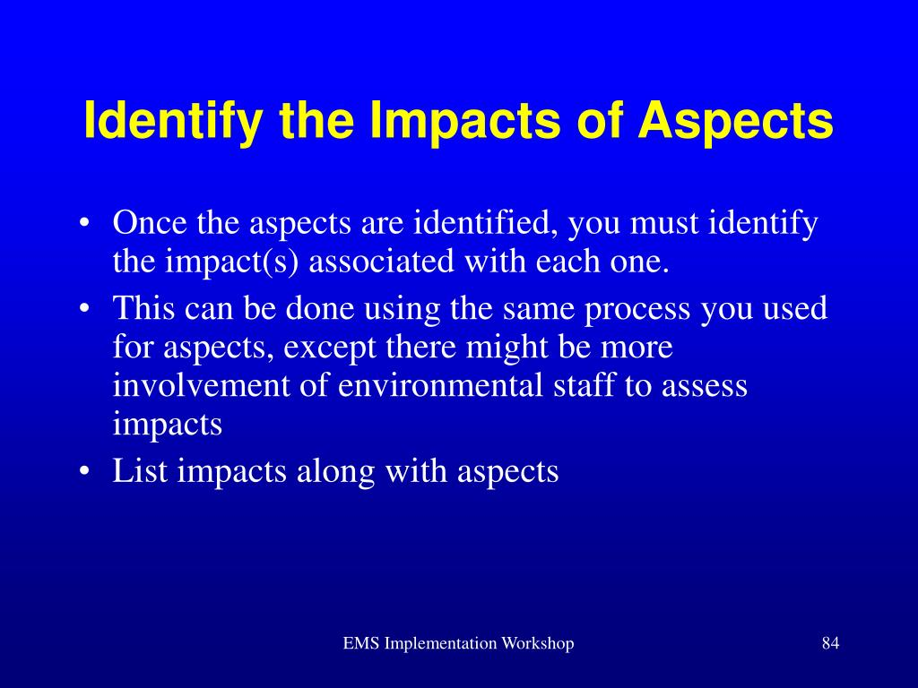 Identify the Impacts of Aspects