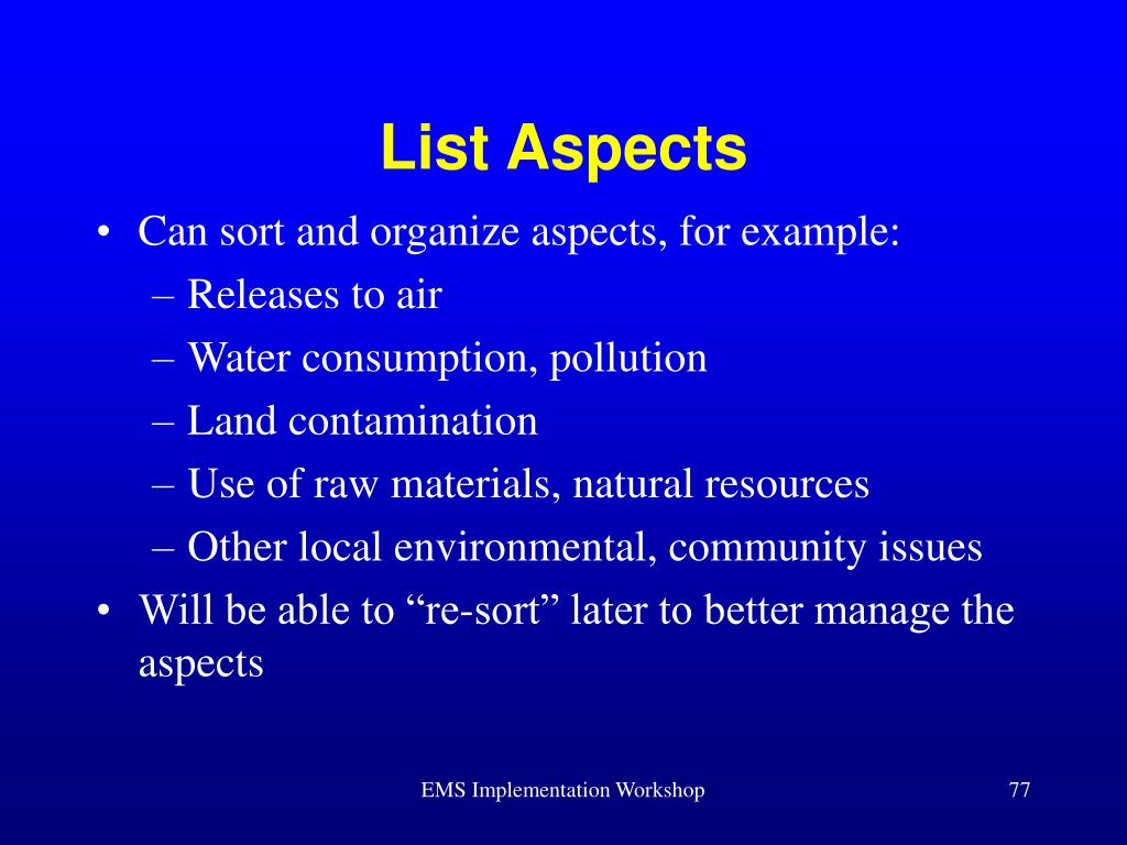 List Aspects