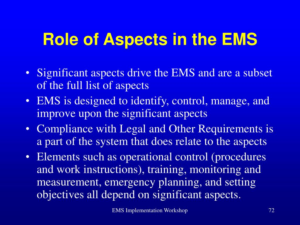 Role of Aspects in the EMS