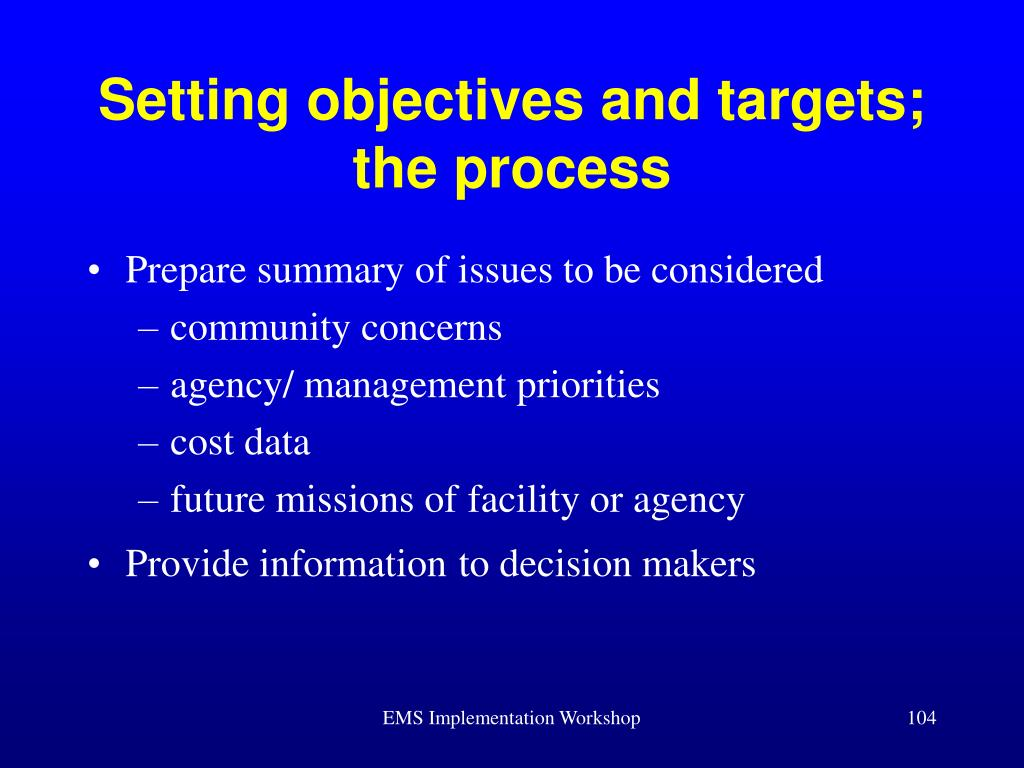 Setting objectives and targets; the process