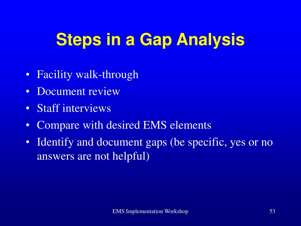 Steps in a Gap Analysis