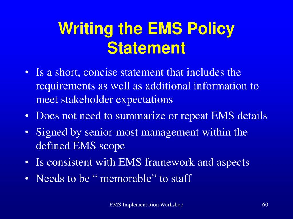 Writing the EMS Policy Statement
