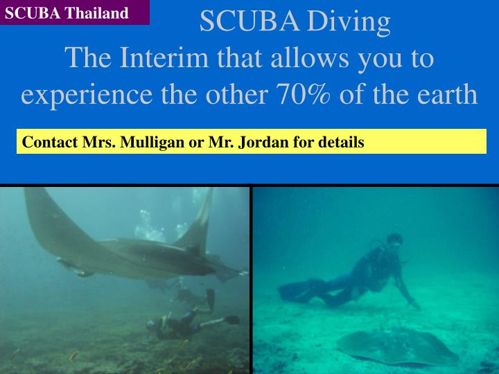 Scuba diving the interim that allows you to experience the other 70 of the earth