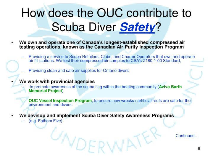 How does the ouc contribute to scuba diver safety