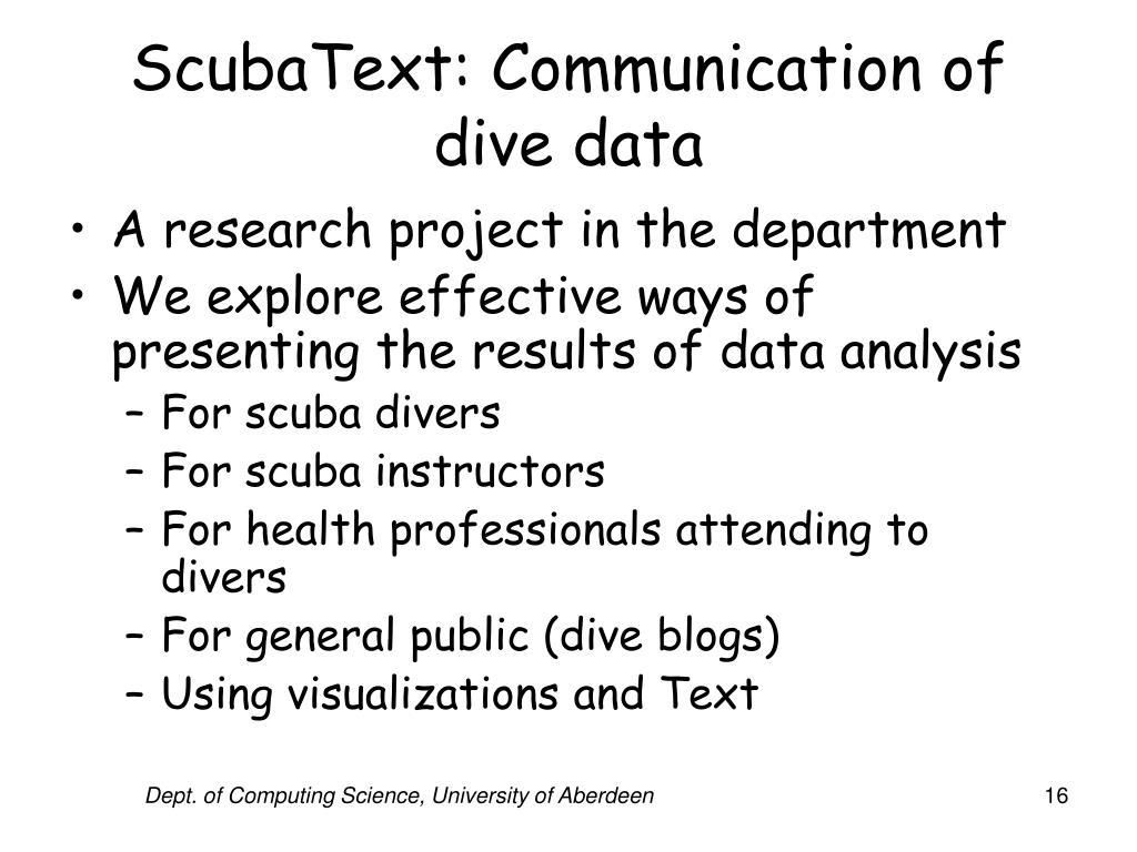ScubaText: Communication of dive data