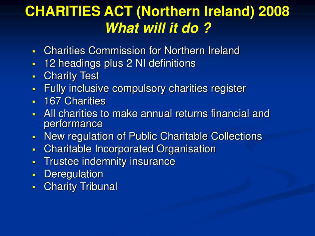CHARITIES ACT (Northern Ireland) 2008