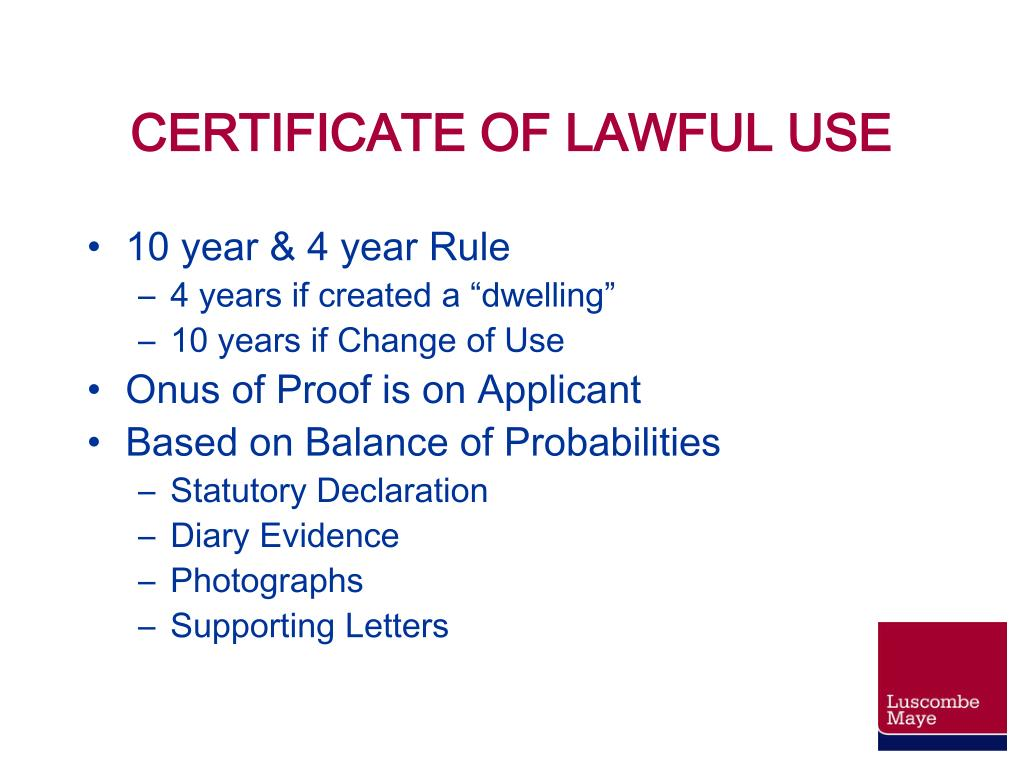 CERTIFICATE OF LAWFUL USE