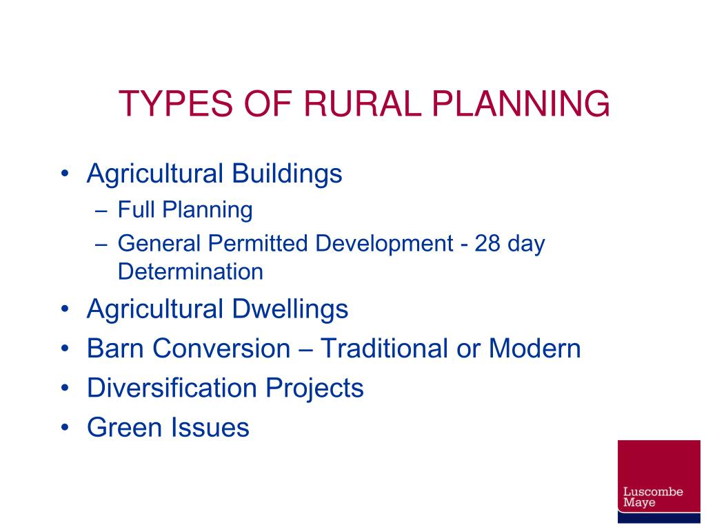TYPES OF RURAL PLANNING