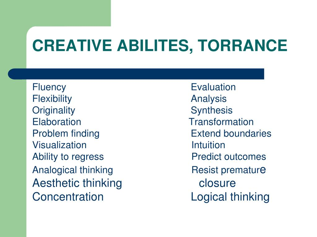 problem solving and creativity by torrance ppt working paper
