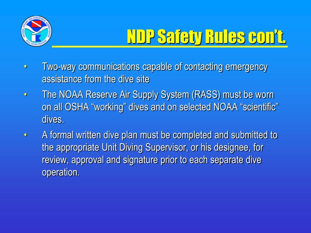 NDP Safety