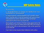 ndp safety rules