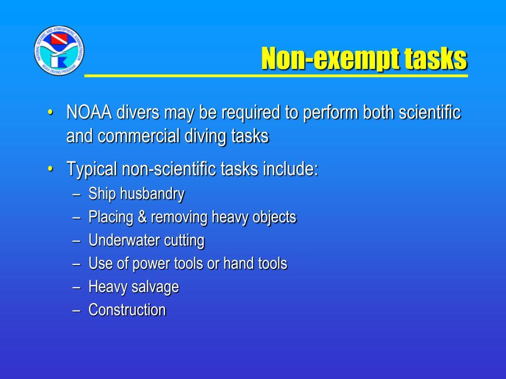 Non-exempt tasks