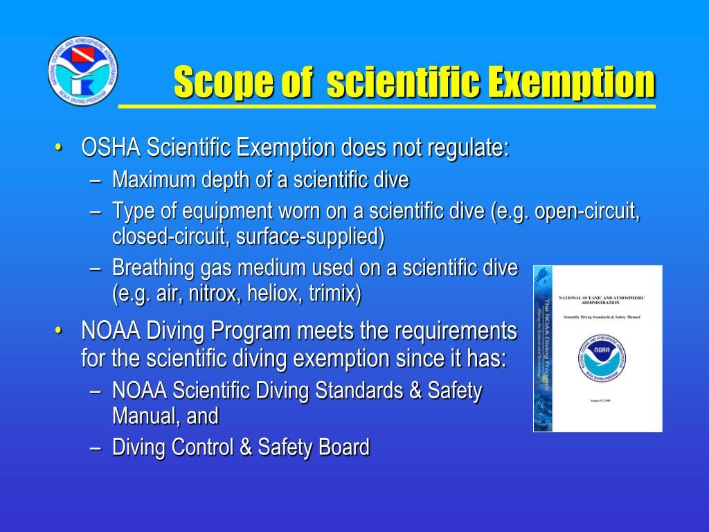 Scope of  scientific Exemption