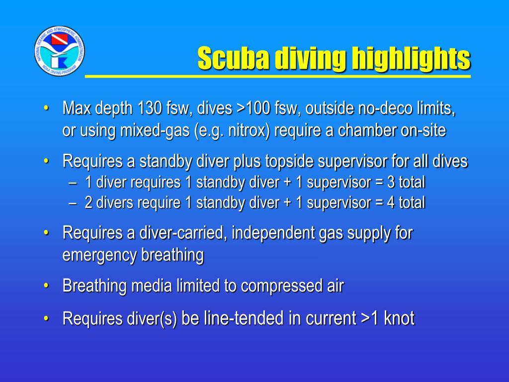 Scuba diving highlights