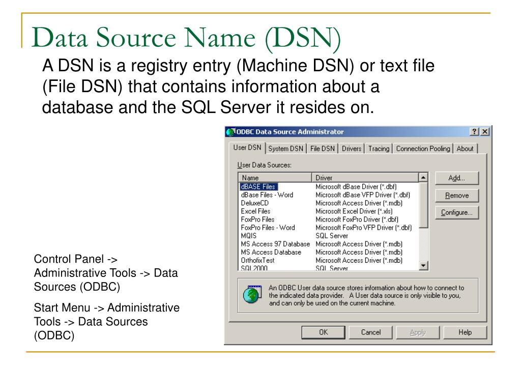 Data Source Name (DSN)