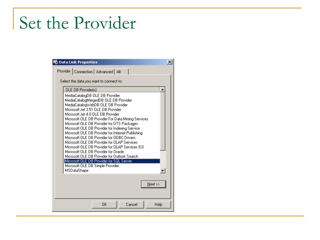 Set the Provider