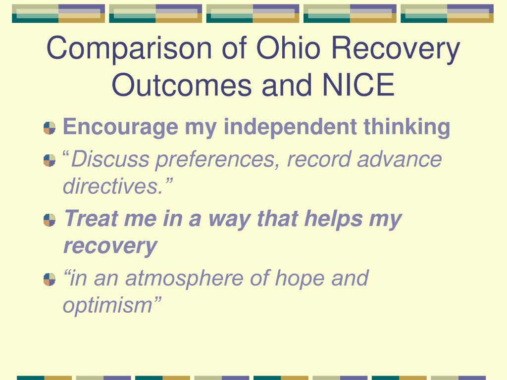 Comparison of Ohio Recovery Outcomes and NICE