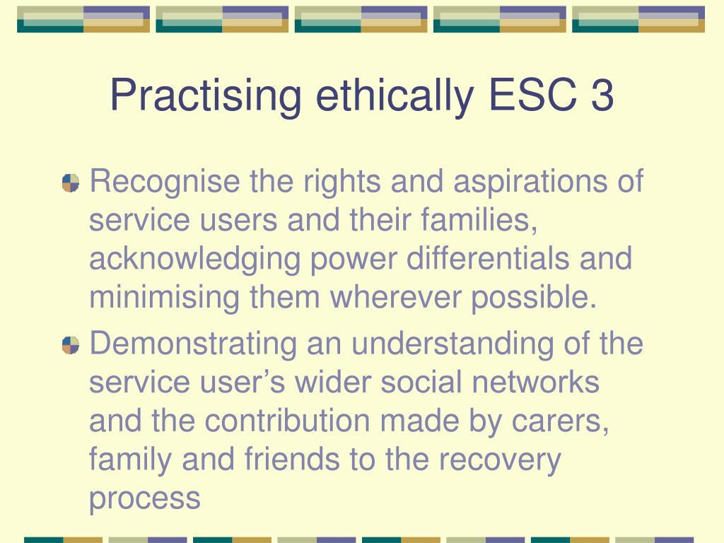 Practising ethically ESC 3