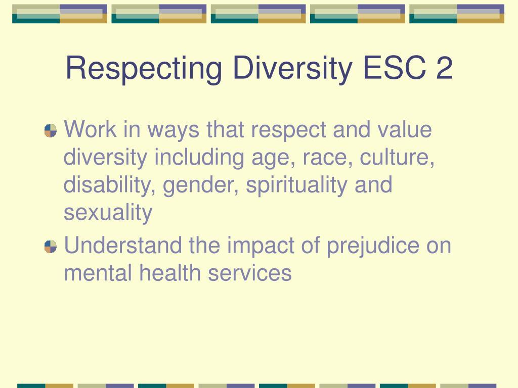 Respecting Diversity ESC 2