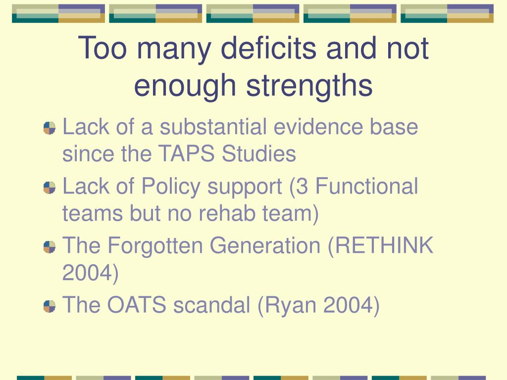 Too many deficits and not enough strengths