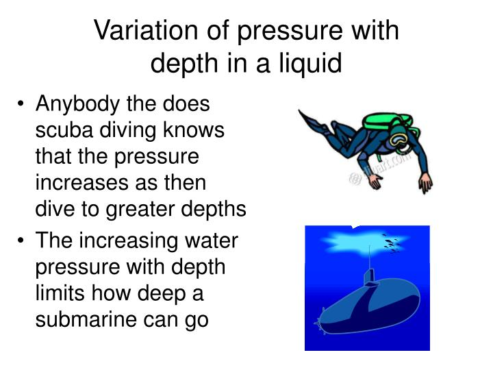 Variation of pressure with depth in a liquid