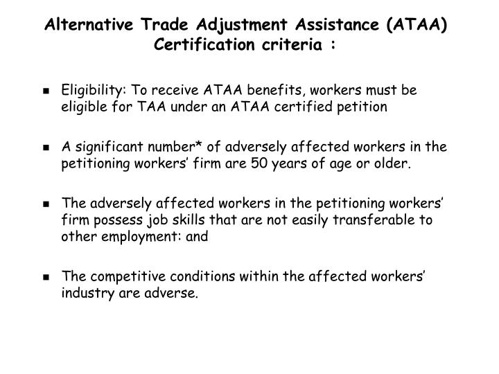 Alternative Trade Adjustment Assistance (ATAA) C