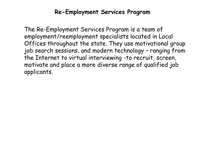 Re-Employment Services Program
