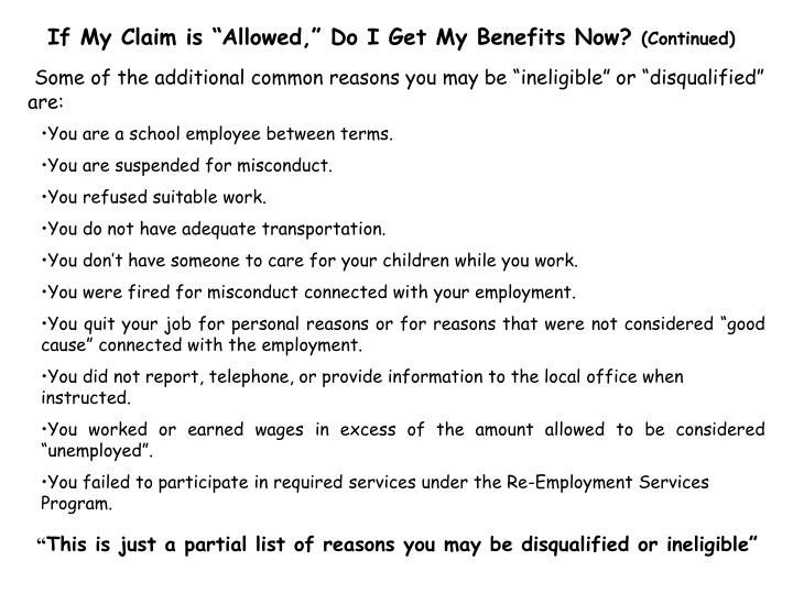 "If My Claim is ""Allowed,"" Do I Get My Benefits Now?"