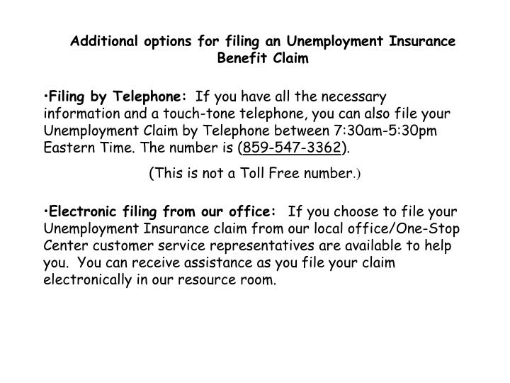Additional options for filing an Unemployment Insurance