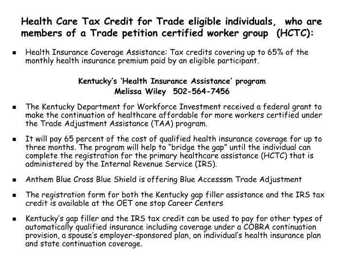Health Care Tax Credit for