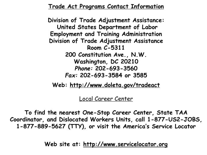 Trade Act Programs Contact Information