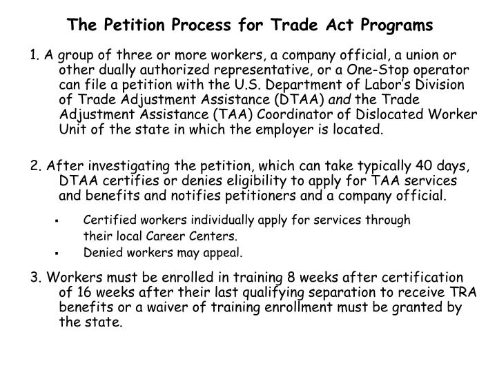 The Petition Process for Trade Act Programs