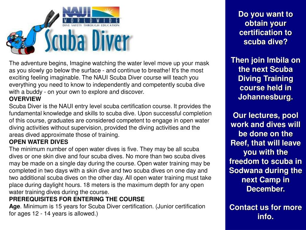Do you want to obtain your certification to scuba dive?
