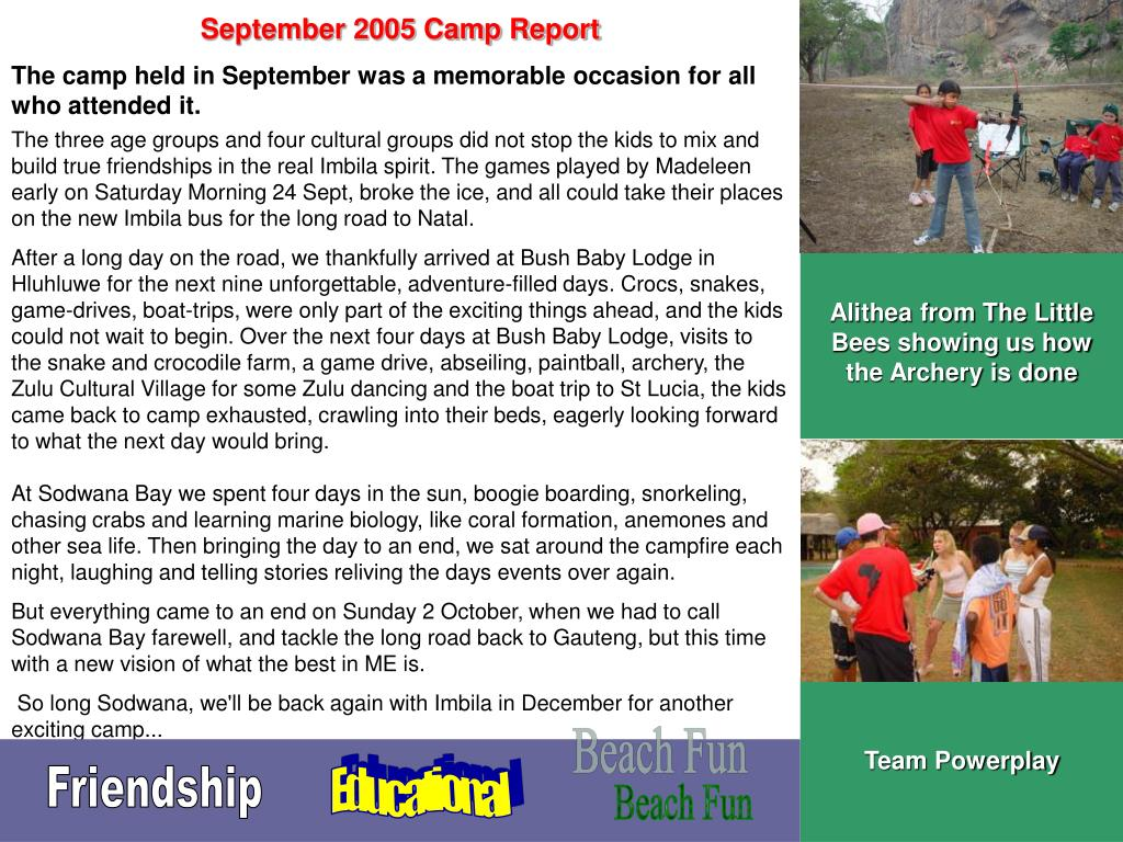 September 2005 Camp Report