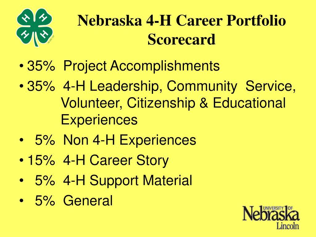 Nebraska 4-H Career Portfolio Scorecard