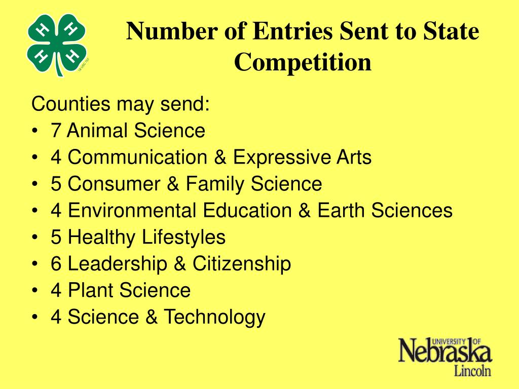 Number of Entries Sent to State Competition
