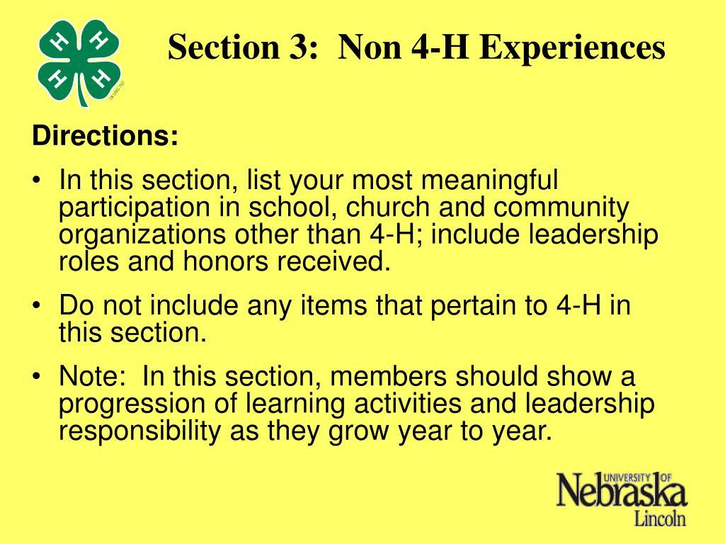 Section 3:  Non 4-H Experiences