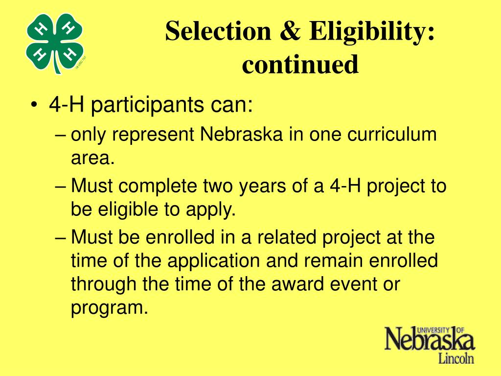Selection & Eligibility: continued