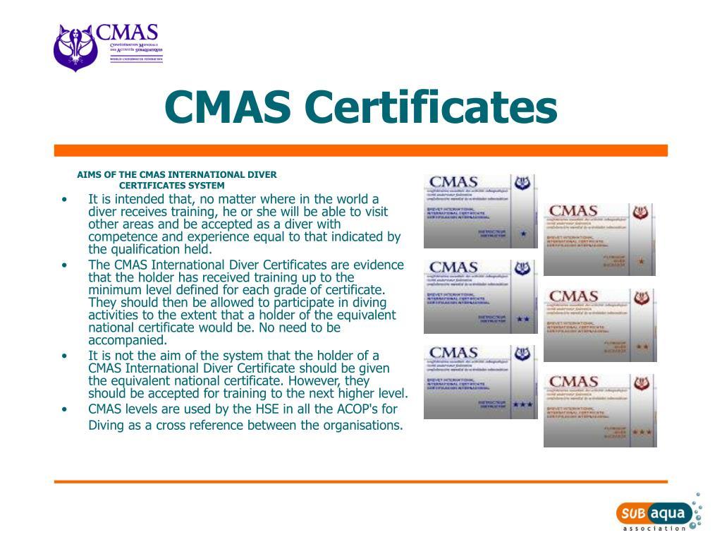 CMAS Certificates