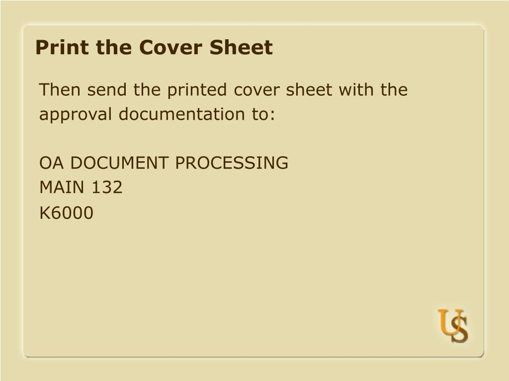 Print the Cover Sheet