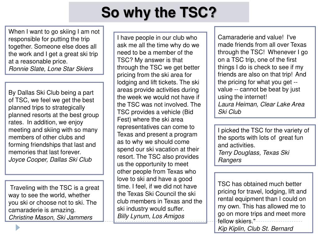 So why the TSC?