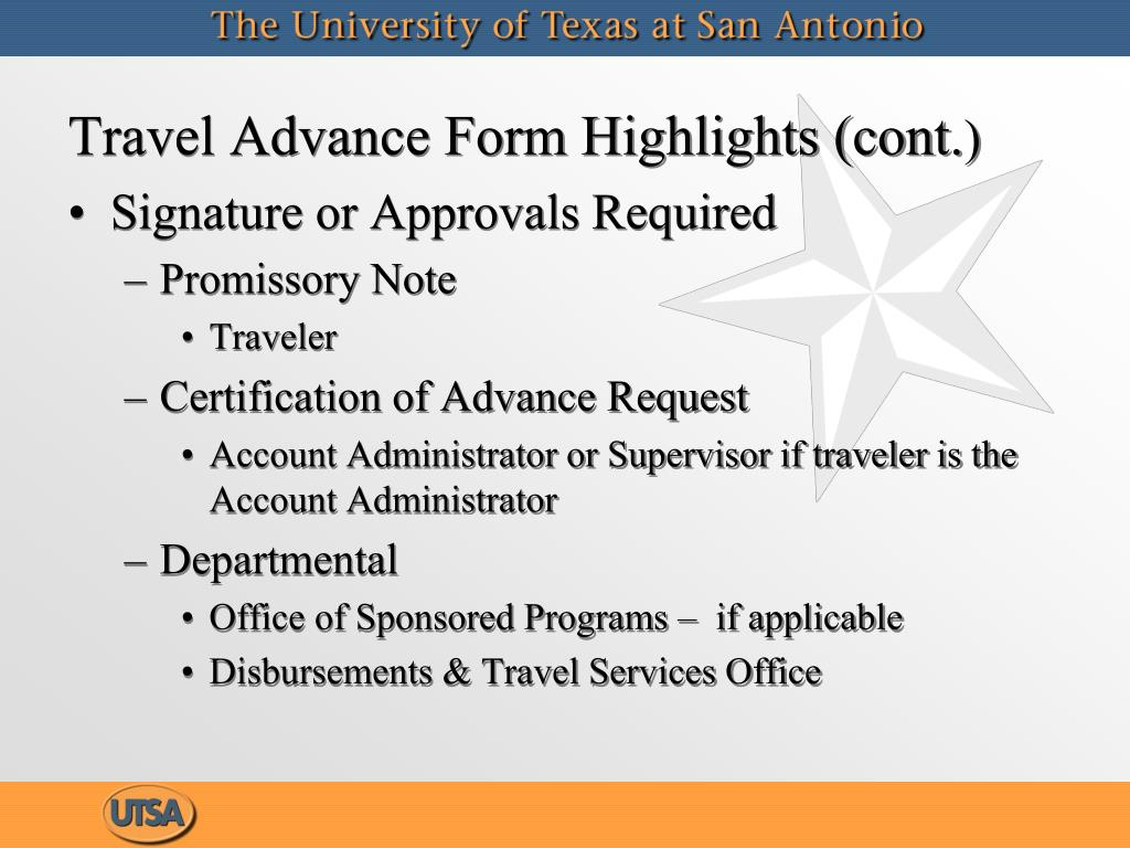 Travel Advance Form Highlights (cont.